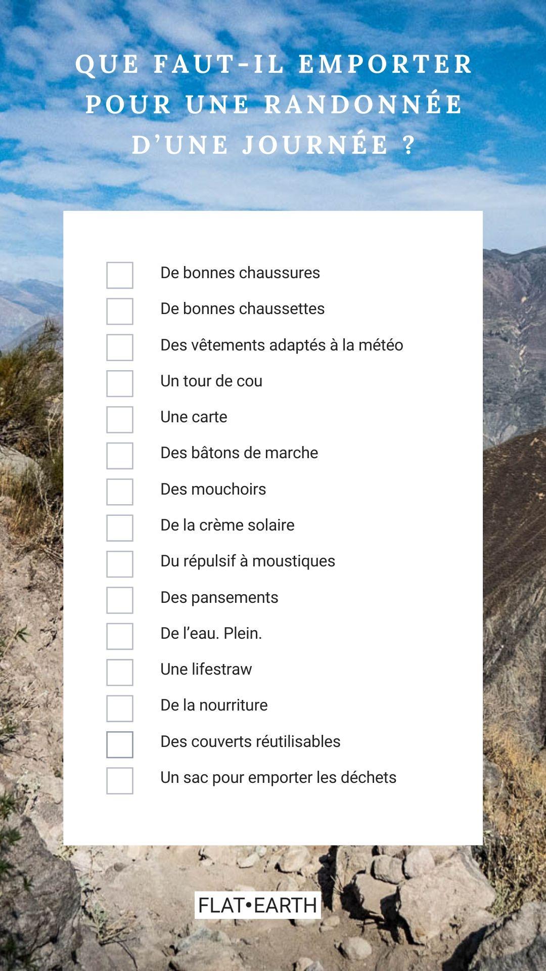 Checklist des choses qu'il faut prendre pour une randonnée d'une journée