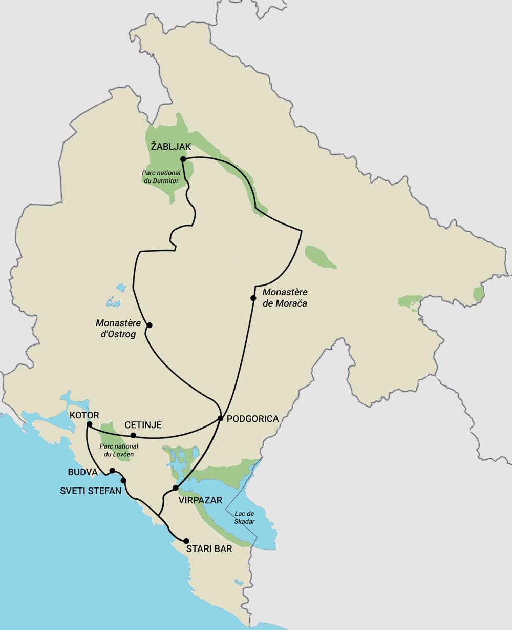 Itinéraire d'un road trip de 11 jours au Monténégro