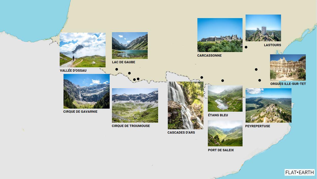 Carte des lieux et randonnées dans les Pyrénées